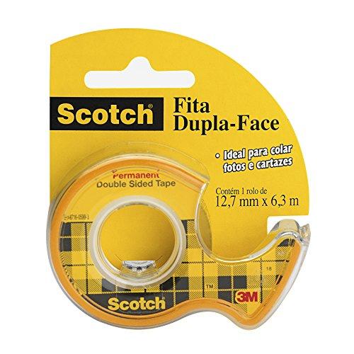 Fita Dupla-Face Scotch com Suporte - 12,7 mm x 6,35 m