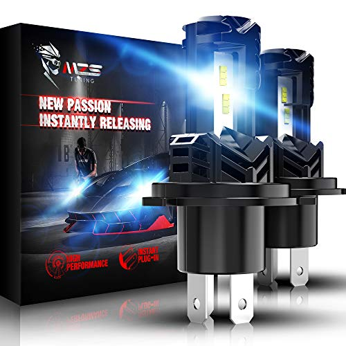 MZS H4 LED Headlight Bulbs,Wireless Instant Plug-in 9003 High Low Beam Conversion Kit Extreme Small Size Fanless Design 12000LM 6500K White