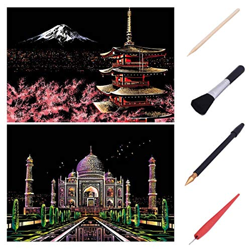 XiaoXT Scratch Art Paper Rainbow Painting Sketch Pad DIY Night View Scratchboard for Adults and Kids - 2 Packs, 16 X 11.2 Inches (Mount Fuji+Taj Mahal)