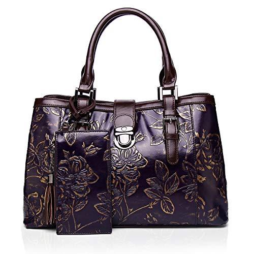 Damen Handtasche Tote Henkeltasche Henkeltaschen groß Tasche Elegante Schultertasche Vintage klassisch handbemalte PU Leder Geschenk für Frauen( 8181-PURPLE)