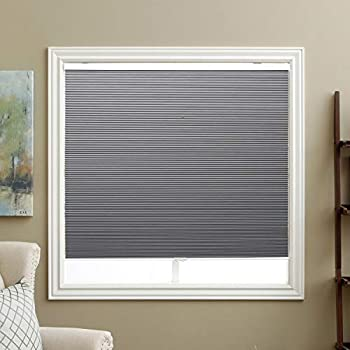 Cellular Blinds Cordless Blackout Honeycomb Shades Fabric Window Blinds 34  W x 64   H Cool Silver Blackout