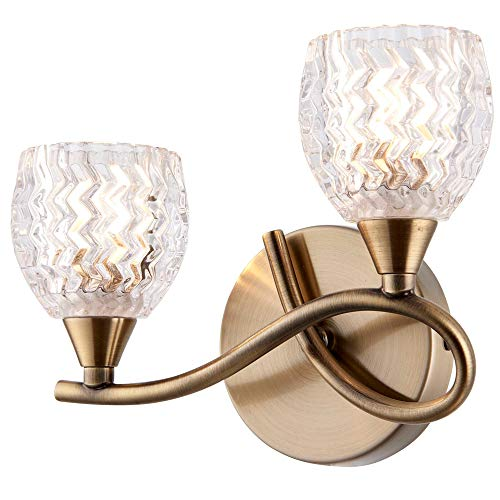 2 x 33 W G9-95 mm über Hängeleuchte - gebogener Arm - Antikmessing & Schnittmuster Glas Lampenschirm - Moderne 2 x Multi-Leuchtmittel - Wohnzimmer Lounge Schlafzimmer Nachttisch Lampe - LED & dimmbar