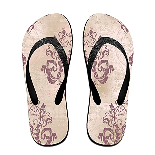 Sandales unisexes minces à bascule,Argent rococo damassé motif floral beau, Tapis de yoga Flip Flops plage confortable bracelet en cuir avec légère en EVA Sole Taille S