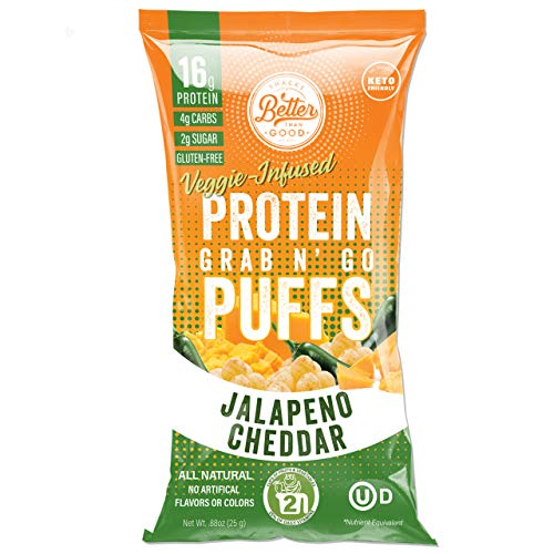BETTER THAN GOOD Keto Protein Puffs | 16g Protein, 2 Servings of Fruits & Veggies | Paleo, Low Sugar, Low Calories, Gluten Free, Diabetic Friendly Keto Snacks (Jalapeno Cheddar)