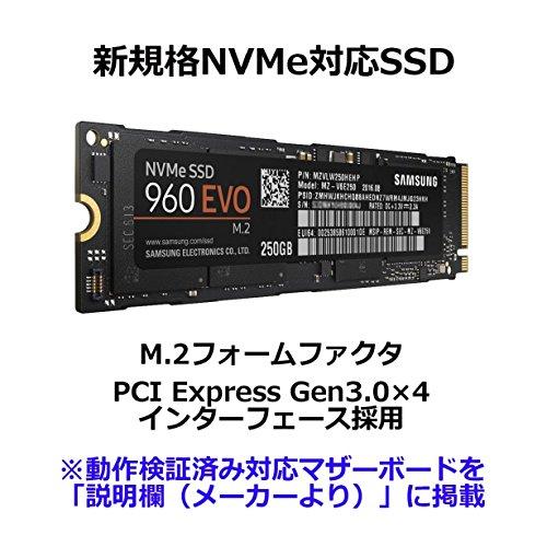 『Samsung SSD 250GB 960EVO M.2 Type2280 PCIe3.0×4 NVMe1.2 3年保証 正規代理店保証品 MZ-V6E250B/IT』の1枚目の画像