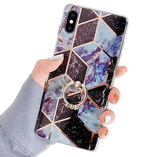 Herbests Kompatibel mit iPhone XS/iPhone X Hülle Bunt Marmor Muster TPU Silikon Handyhülle Glänzend Bling Glitzer Diamant Strass Ring Halter Ständer Crystal Case Tasche Schutzhülle,Braun