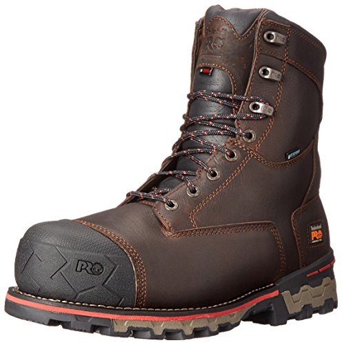 Timberland PRO Men's 8 inch Boondock Comp Toe Waterproof INS 1000 Work Boot, Brown Tumbled Leather, 10 W US