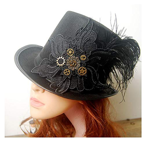 LHZUS Sombreros para mujer Steampunk Top Hat con Metal Gear Magic Hat Performance Hat Bowler Hat Steampunk Top Hat (Color: Negro, Tamao: 57 cm)