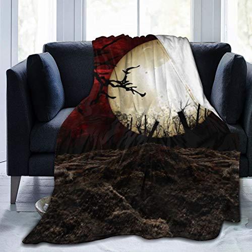 DAOPUDA Manta De Tiro De Lana Suave,Noche oscura gótica en el bosque con estilo de tema de terror de luna llena Fotos de Halloween,home hotel Sofá cama Sofá Mantas para parejas Niños Adultos,150x200cm