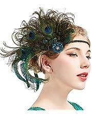 ArtiDeco dames 1920s hoofdband pauw veer jaren 20 stijl flapper haarband geïnspireerd door Great Gatsby Dameskostuum accessoires