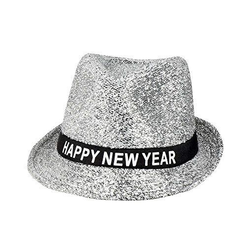 Boland-29717 Sparkling Happy New Year, Sombrero con Purpurina, color plateado, Talla única (Ciao Srl 29717)