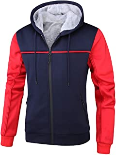 HTB Men's Full Zip Fleece Jacket Winter Warm Hooded Workout Pullover Thick Thermal Coat