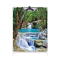 クリップボード 用箋挟 クロス貼 A4 短辺とじ 滝 フォルダーボードフォルダーライティングボード (2個)フォレストシークレットパラダイスの岩によってアジアの滝の妖精イメージ装飾グリーンブルー生まれ
