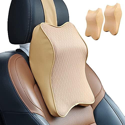 WAQIA HOME Autositz-Kopfstützen-Nackenkissen, langlebiger Memory-Schaum, Auto-Nackenkissen mit atmungsaktivem, abnehmbarem Bezug, bequeme Nackenschmerzlinderung, perfekt weich für den Fahrersitz (2 Stück, beige)