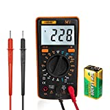 Digital Multimeter Voltmeter Ammeter Ohmmeter AC/DC Voltage Current Resistance Diodes Car Battery Continuity Circuit Tester LCD Backlight with Test Leads 9V Battery