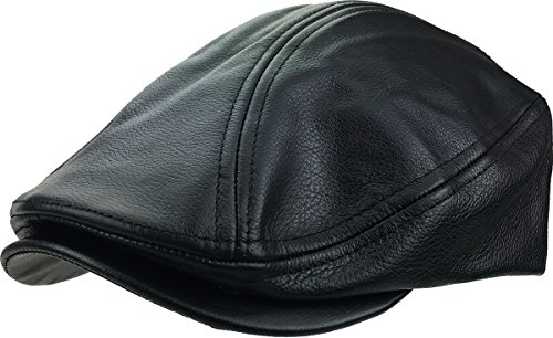 KBETHOS LEATHER-ASCOT BLK L/XL Genuine Leather Ascot Ivy Made In USA Hat