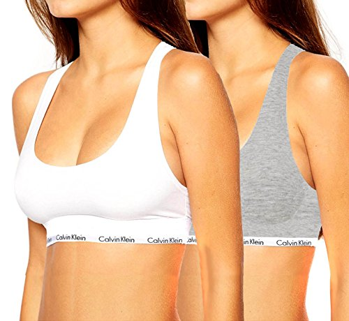 Calvin Klein - Reggiseno sportivo - Donna White/Grey Small
