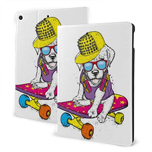 Animal Design Case for ipad 7th Generation 10.2in and ipad Air 3 & Pro 10.5in TPU Protective Leather Cover Adjustable Stand Auto Wake/Sleep Smart Case - Funny Dog Skateboard (1)