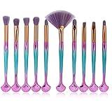 Edary Pinceau De Maquillage Set 10 Champagne Or Pinceau De Maquillage Accessoires Maquillage Pinceau Ombre À Paupières Outils De Beauté (Rose bleu)
