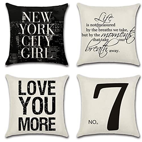 JOVEGSRVA Juego de 4 fundas de almohada decorativas con número negro, 45 cm x 45 cm, fundas de almohada para sala de estar, sofá, cama, fundas de almohada