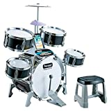 Kids Jazz Drum Set,5 Drums, 6 Instructional Song Cards, Kick Pedal, 2 Drumsticks, Stool for Musical Educational Gifts Children Birthday...