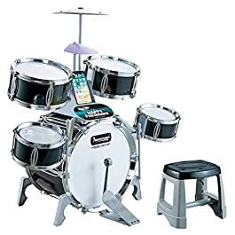 Kids Jazz Drum Set – Little Jazz Drum Set with 5 Drums, Chair, Kick Pedal & 2 Drumsticks for Kids to Stimulating Children's Creativity Educational Toys, Ideal Gift Toy for Christmas