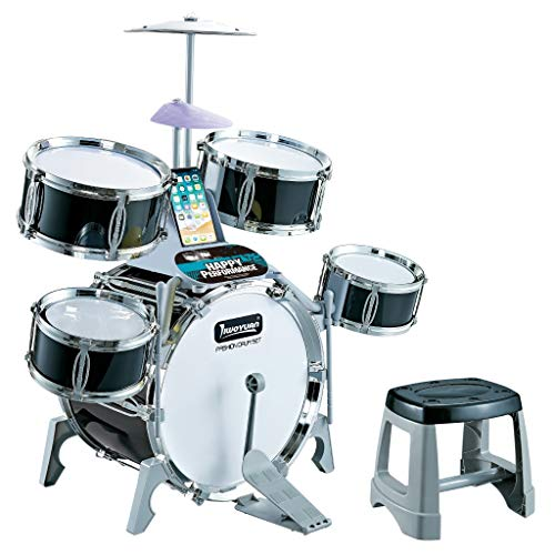 5-Piece Kids Drum Set | Kids/Junior/Students Jazz Drum Set w/ 5 Drums, 2 Drumsticks, Kick Pedal, Stool, 6 Instructional Song Cards | Ideal Toy Gift for Kids
