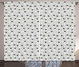 ABAKUHAUS Entomología Cortinas, Abejorros y Las orquídeas, Sala de Estar Dormitorio Cortinas Ventana Set de Dos Paños, 280 x 245 cm, Amarillo Gris carbón