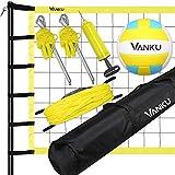 Vanku Red de Voleibol Profesional de Tamaño Estándar Oficial de 9.5 * 1M, Red de Tenis Bádminton Portátil Plegable, Altura Ajustable, Equipo Deportivo al Aire Libre, con Vóleibol