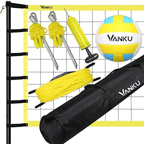 Vanku Red Voleibol Playa/ Bádminton/Tenis, Tamaño Estándar Oficial de 9.5 * 1M, Voleibol Y Bolsa de Transporte Gratis