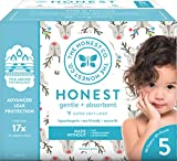 The Honest Company Club Box Disposable Diapers with True Absorb Technology, Hey Rudolph, Size 5, 50Count