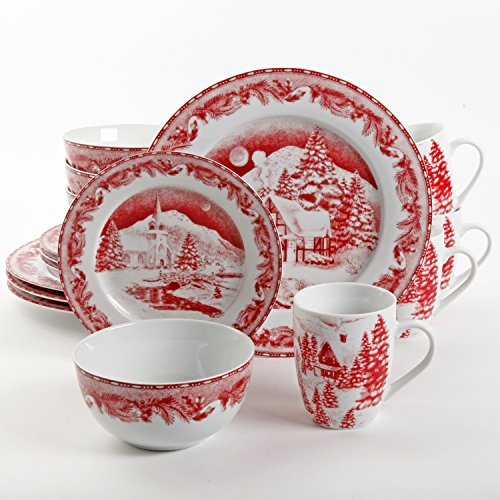 Gibson Elite 102002.16RM Winter Cottage 16-Piece Porcelain Dinnerware Set, Red