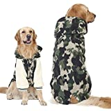 FLAdorepet Winter Warm Fleece Big Large Dog Coat Jacket Camouflage Dog Puppy Hoodie Pajamas Clothing Golden Retriever Pitbull Dog Clothes (5XL, Green)