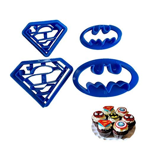 Astra Gourmet Super Hero Cartoon Cookie Cutters Pastry Stamp Biscuit Mold Sugarcraft Cake Decoration, Set of 4