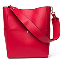 BOSTANTEN Women's Leather Designer Handbags Tote Purses Shoulder Bucket Bags Red