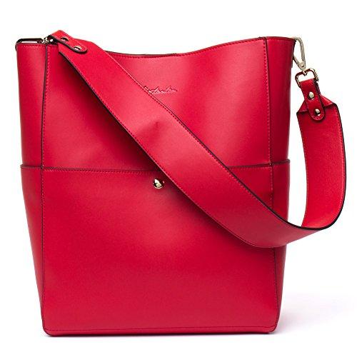 BOSTANTEN Women's Leather Designer Handbags Tote Purses Shoulder Bucket Bags Red