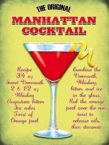 The Original Manhattan Cocktail Recipe Glass And Orange Peel Whiskey Classic Food And Drink Fridge Magnet Amazon Co Uk Kitchen Home