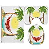 Dibujos animados de vacaciones de ocio con hamaca relajante entre palmeras Tropic Island Baño Conjuntos de alfombras de baño Alfombrilla antideslizante de 3 piezas Alfombra de pedestal + Tapa Tapa del