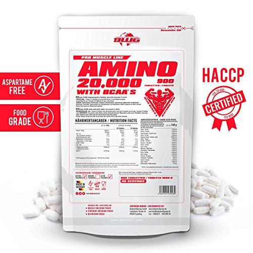 BWG Amino 20.000, Protein Tabletten, Muscle Line, 900 Tabletten, 1er Pack (1 x 1080g Beutel) - 4