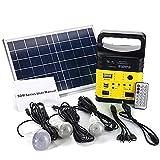 EastMetal Tragbarer Solargenerator, 10W Solarpanel mit Mini-Gleichstromausgang für den Außenbereich, LED-Beleuchtungssystem mit Bluetooth Radio MP3 Aufladen, für Camping, Heim, Notstromversorgung