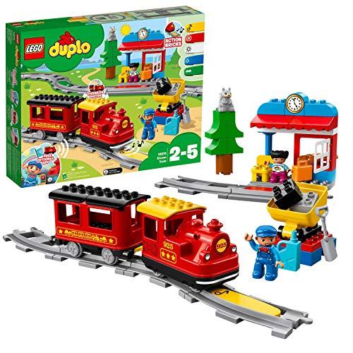 LEGO DUPLOTown TrenoaVapore per Bambini,Luci e Suoni,Giocattolo Push&Go per Bambini dai 2 ai 5 Anni, 10874