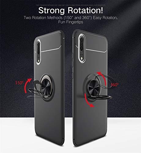 2Buyshop Huawei P20 P20 Pro Hülle Huawei P20 lite Schutzhülle, 360 Grad Drehbar Ringhalter Dünn Weich Hochwertigem Stoßfest Anti-Kratzer handyhülle Huawei P20 Pro Hülle (Schwarz, Huawei P20 Pro) - 5