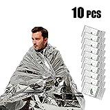 UBEGOOD Emergency Blanket, Silver Space Blanket, Waterproof Mylar Thermal Foil Blanket 52' x 82' for Outdoor, Survival, Camping, Hiking, Marathons, Homeless, First Aid (Pack of 10)