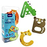 Yeelua Imanes grandes letras de animales para nevera, refrigerador, mayúscula, alfabeto ABC, lindo juego de aprendizaje de ortografía, juguetes para niños, niñas y niños preescolares