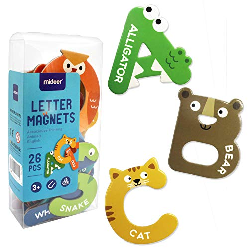 Hiope Large Magnets Fridge Letters Animals Alphabet Toys, Magnetic Refrigerator Uppercase ABC Alphabet Cute Spelling Learning Game Toys for Kids Baby Girls Boys Toddler Preschool Educational