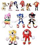 Juego de 11 piezas de Sonic Plush Doll Toys Sonic Shadow Amy Rose Cotton Soft Stuffed Game Doll Juguetes para niños Chris Regalo para niños