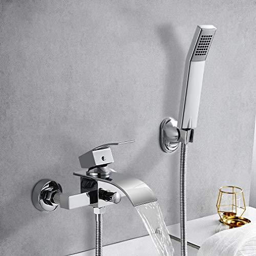 Elegant Badewannenarmatur Wasserfall mit Brause, WOOHSE Mischbatterie Badewanne Armatur inkl. Wandhalterung mit Handbrause für Badezimmer Dusche, Hochwertiger Messingkörper, Lebenslange Garantie