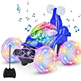 UTTORA Remote Control Car,RC Cars Toy for Kids, High Speed RC Stunt Car for Boys&Girls 360 Rotating Off Road Stunt Car Outdoor Electric RC Truck Rechargeable RC Car for Kids Adult (Blue)