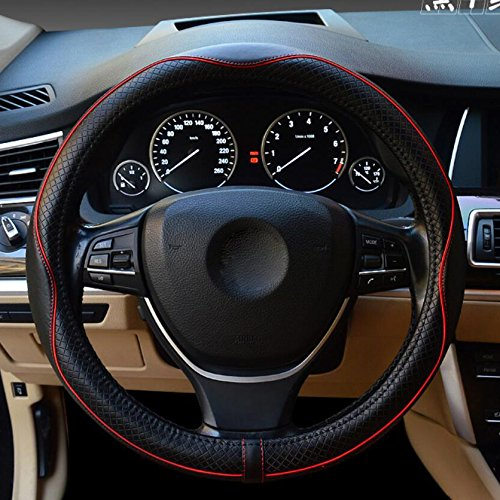 Hivel Luxe Gaufrage Cuir Veritable Couvre Volant Voiture Universel Anti Slip Respirant Vehicule Genuine Leather Auto Car Steering Wheel Cover 38cm - Rouge