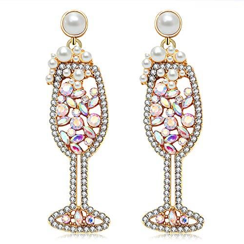 Champagne Wine Glass Earrings-Handmade Champagne Flute Earrings -Charm Rhinestone Crystal Pearl beaded Drop Dangle Earrings- Cute Pretty Earrings For Woman (gold)